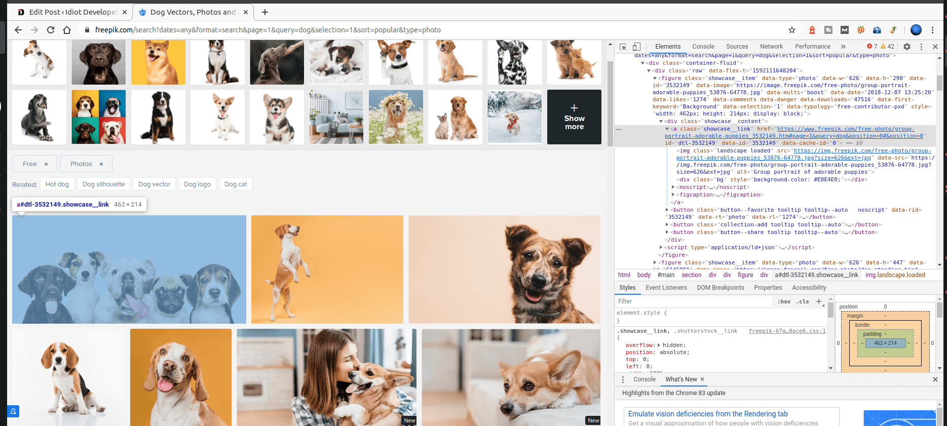 Inspecting element to find the proper tag and class name to extract the images