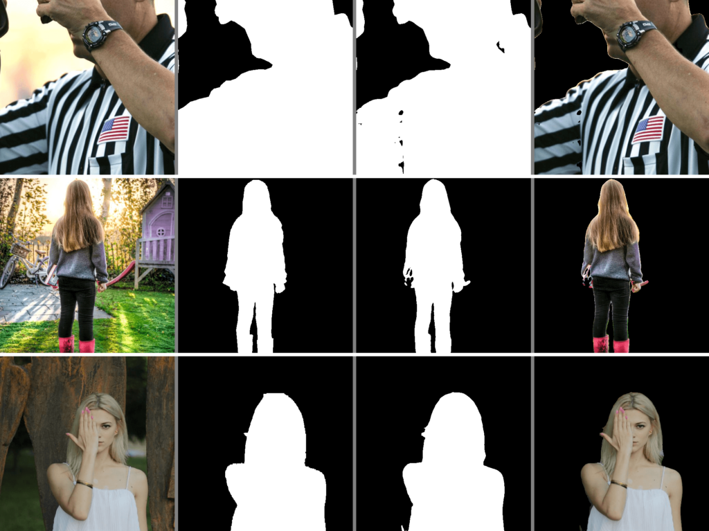 A few examples of the concatenated images. The images sequence is - input image, ground truth, predicted mask, and last predicted mask overlay on the input image.