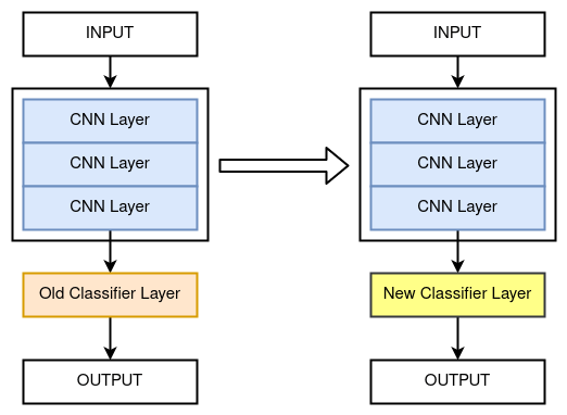 A diagram explaining the concept of transfer learning.
