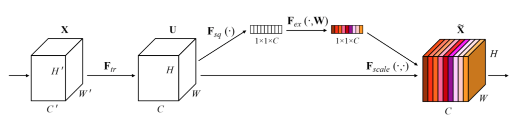 The block diagram of the Squeeze and Excitation Network.
